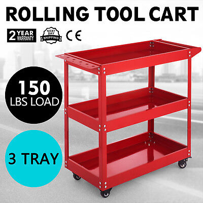 Rolling Tool Cart 3-tray Utility Service Storage Trolley Workshop Garage Cart