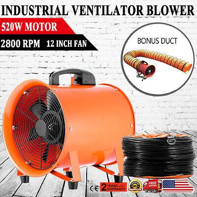12 Industrial Utility Fan Blower Portable Fume Extractor W 5m Hose Ventilator