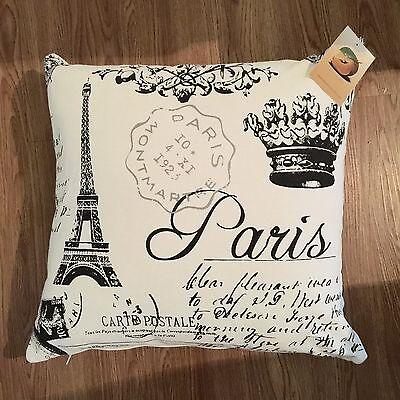 """Paris, Eiffel Tower Cushion Cover 18"""" x 18"""" 100% Cotton Decorative Pillow Case"""