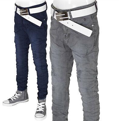 Jungen Hose Kinderhose Sommerhose leichte Stoffhose Knitter Jeans Optik Neu #JN  - Kinder Jungen Jeans