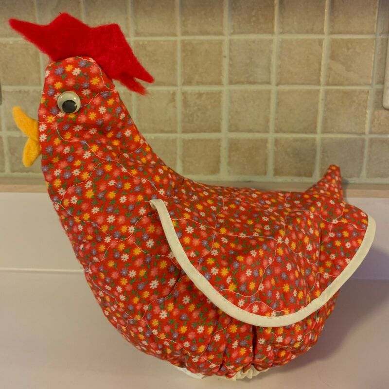 Vintage Rooster Tea Pot Cover Handmade Red Floral Wings Chicken Hen Farmhouse