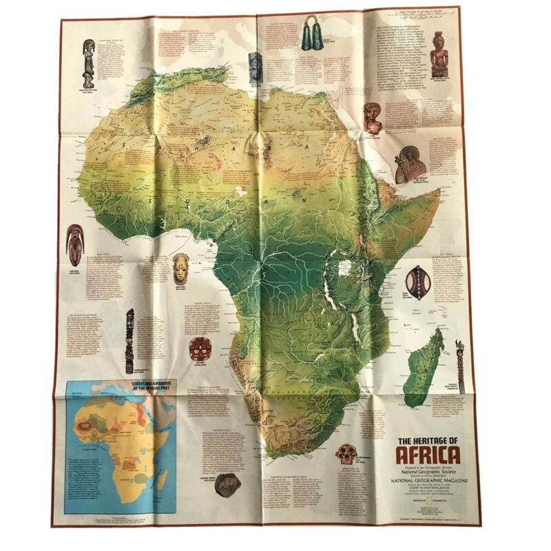 National Geographic The Peoples Of Africa The Heritage Of Africa Map Vtg 1971