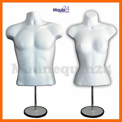 Torso Dress Body Form Mannequin Set Male Female 2 Metal Stands 2 Hangers