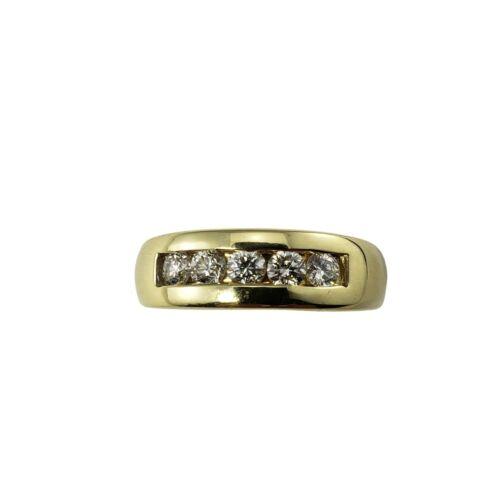 Vintage 14 Karat Yellow Gold and Diamond Band Ring Size 8.75 #9831