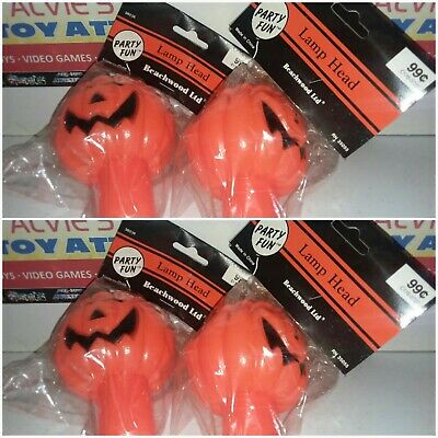 4 Vintage Halloween Pumpkin JOL Blow Mold Candle Light Topper Only New Old Stock