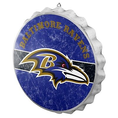 Baltimore Ravens Bottle Cap Wall Sign - Distressed - Room Bar Decor Metal 13.5