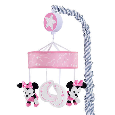 Disney Baby Minnie Mouse Pink/Gray Musical Crib Mobile by Lambs & Ivy