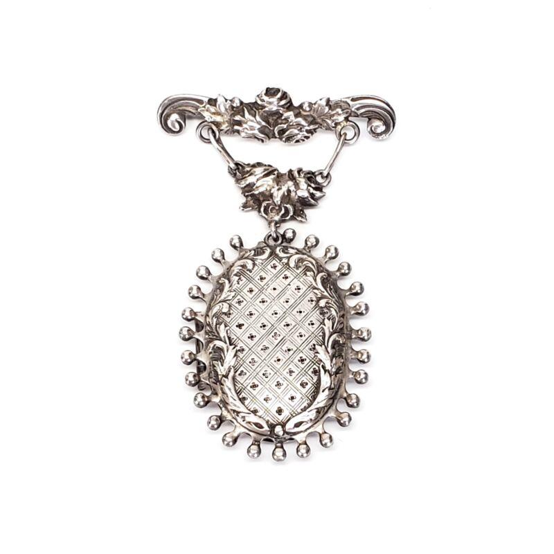 Antique Handmade Sterling Silver Hanging Locket Pin / Brooch #7298