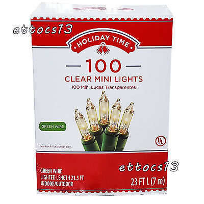 Holiday Time 100 Clear Mini Lights-Christmas-Wedding-NEW-Green Wire