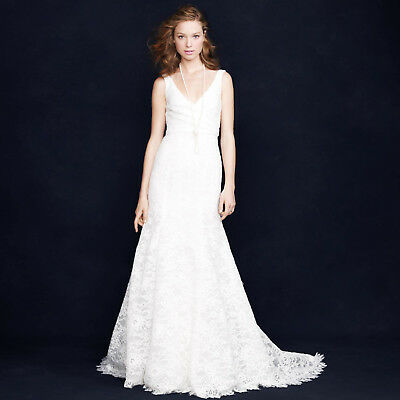 "J CREW SARA WEDDING GOWN 6 LACE FORMAL IVORY MERMAID LOW ""V"" 94389 NWT $2,200"