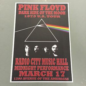 PINK FLOYD CONCERT POSTER RADIO CITY HALL NEW YORK CITY 17TH MARCH