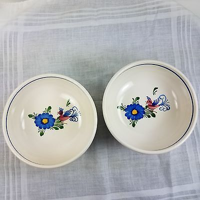 Vintage 2 Matched Handbemalt Hand Painted Game Bird European Pottery Bowls