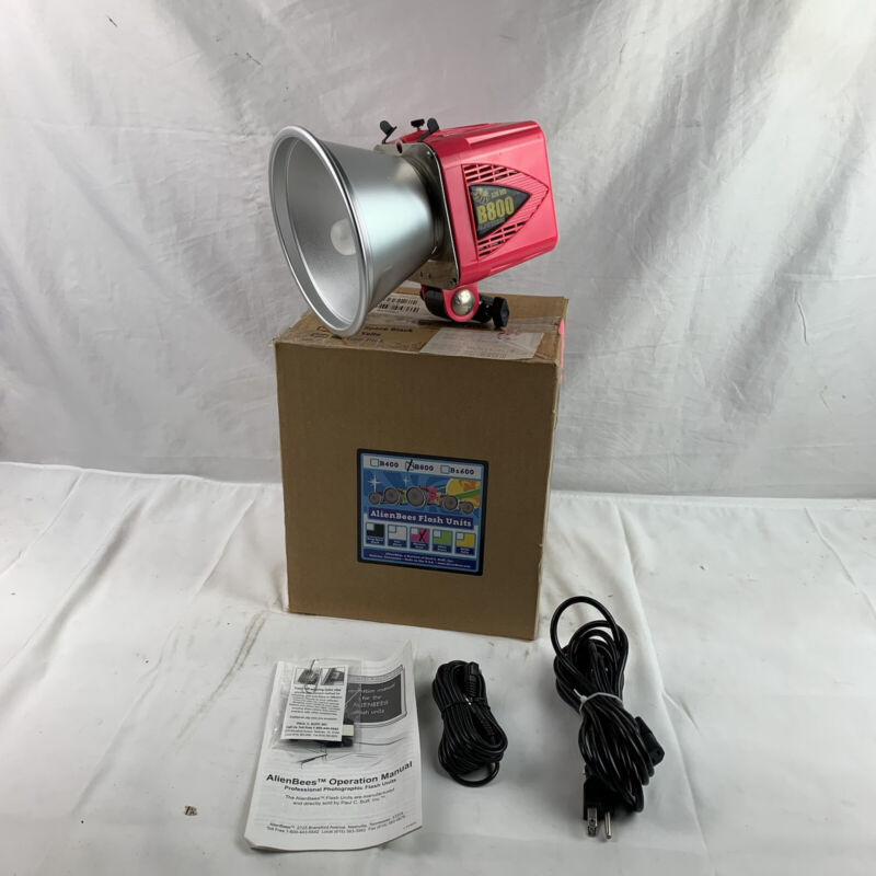 Alienbees B800 Paul C. Buff Flash Unit Head With Cover 320 WS Pink Tested Works