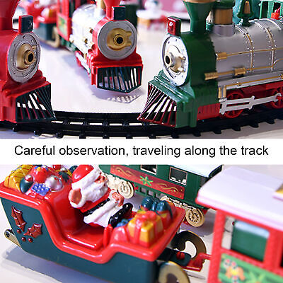 Christmas Electric Rail Car Train Set with Music Light Kids Toy Gift Larger