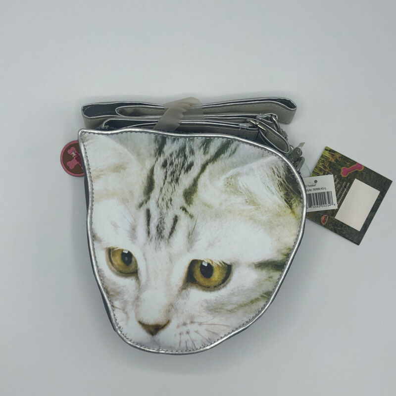 NWT FuzzyNation Kitty Storage Shoulder Handbag Purse