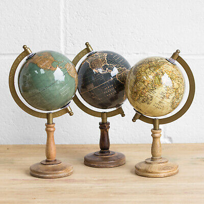 27cm World Globe Wooden Base Vintage Rotating Atlas Map Home Decor Desk Ornament