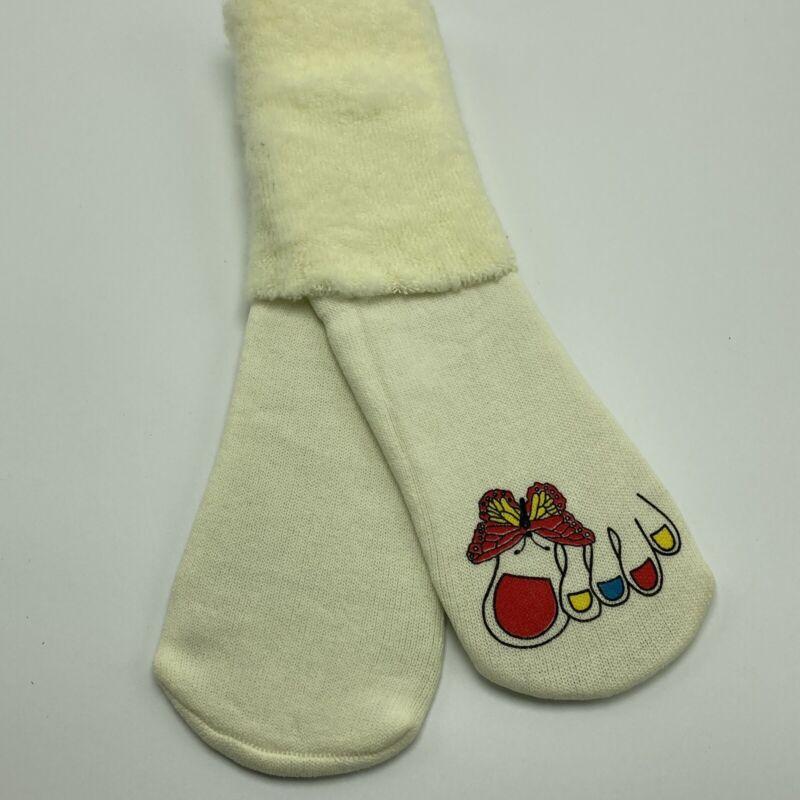 Vintage Orlon Socks Fuzzy Yellow Toe Butterfly Print NOS