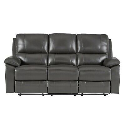 Leather Match Motion Sofa - 100% TOP GRAIN GREY LEATHER MATCH RECLINING MOTION SOFA LIVING ROOM FURNITURE