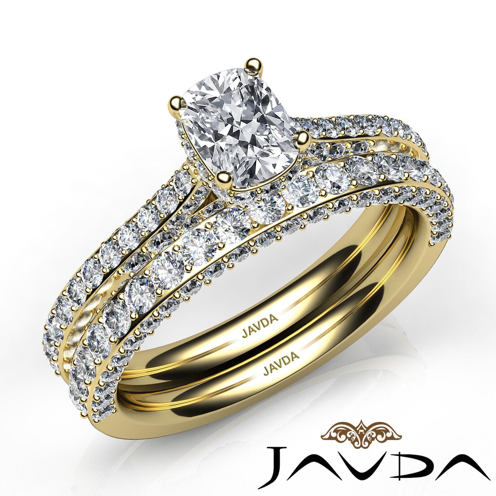 2.85ctw Pave Circa Halo Bridal Cushion Diamond Engagement Ring GIA F-VS1 W Gold 8