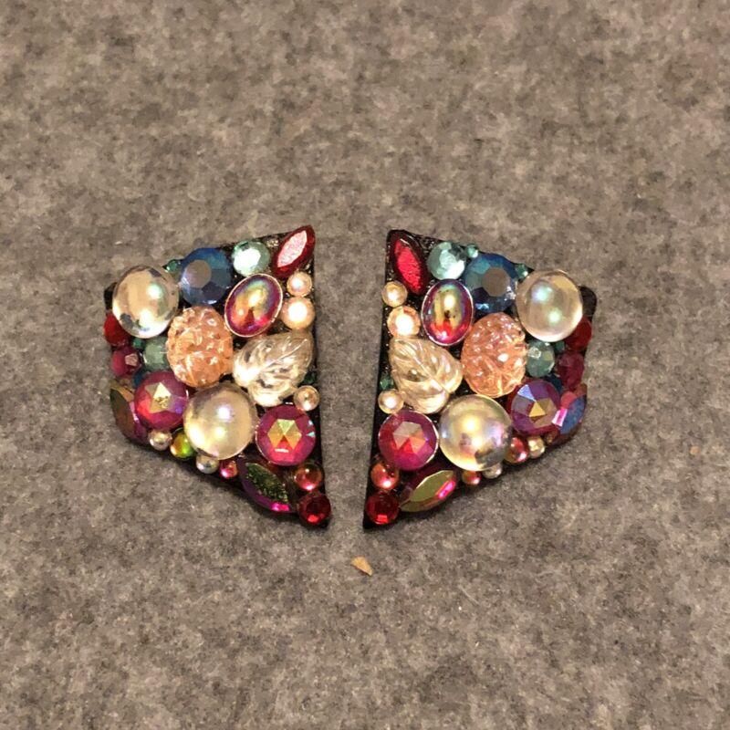 Vintage Bill Schiffer 1990 Black Multicolor Rhinestones Earrings Signed