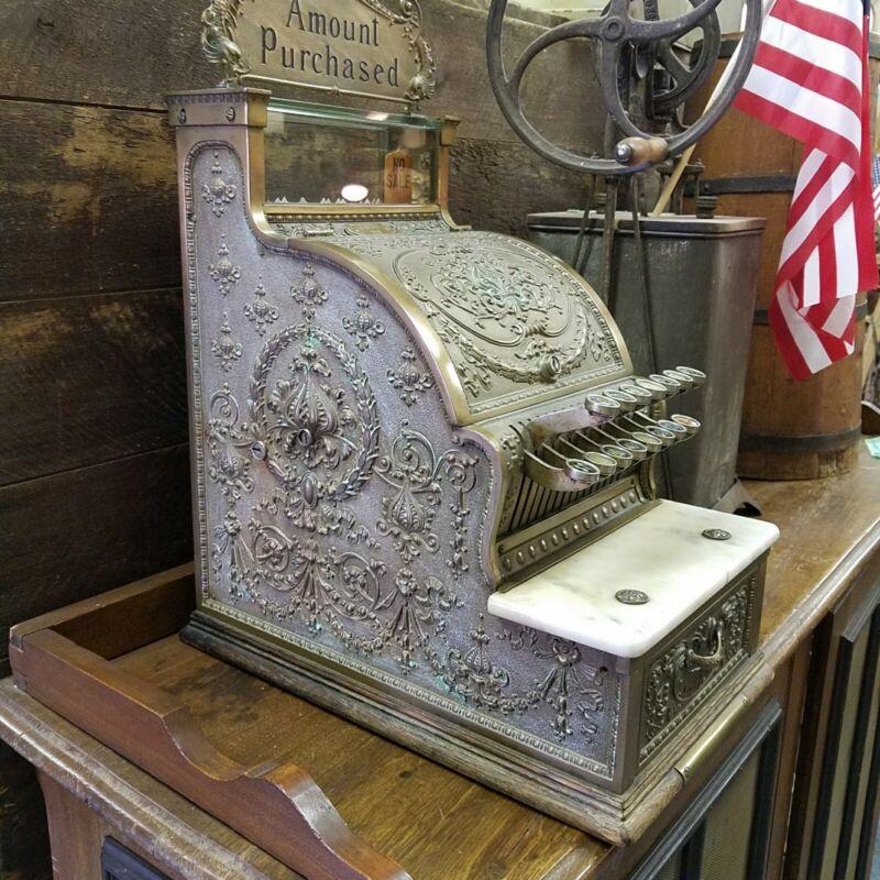 Old ORIGINAL COMPLETE Antique Brass National CANDY STORE Cash Register #313 !!!!