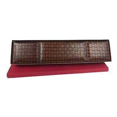 Bosca Chestnut Campania Leather 3 Compartment Desk Organizer New 135
