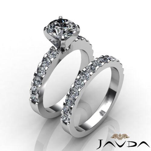 Round Cut Diamond Engagement Bridal Set Solitaire Ring GIA F VS1 Platinum 2.7ct