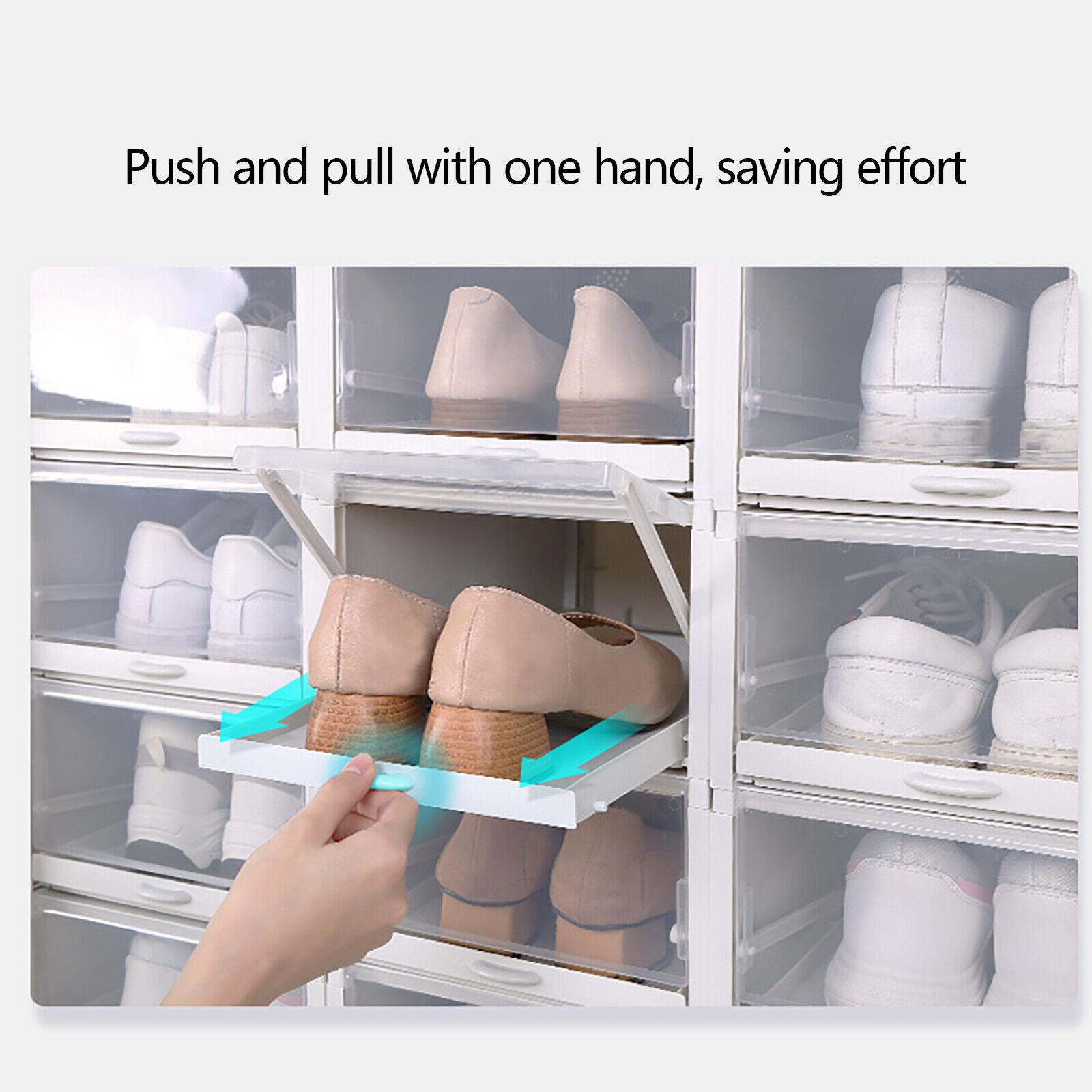 20pcs Push Drawer Type Shoe Storage Box PP Transparent Shoe ...