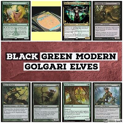 mtg Black Green Modern Golgari Elves deck Magic the Gathering rares Elvish Piper