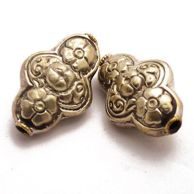 Repousse 2 Beads Tibetan Nepalese Handmade Tibet Nepal UB2512