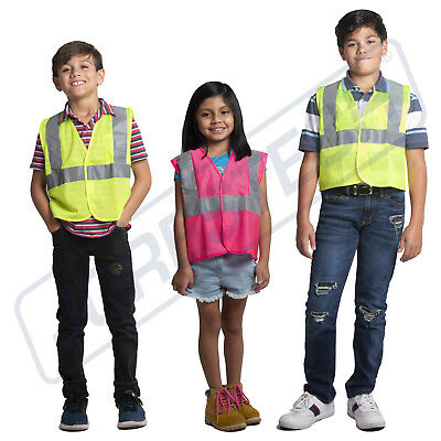Kids Hi Vis Sleeveless Vest Visibility Safety Waistcoat Pink Lime - Childrens Safety Vest