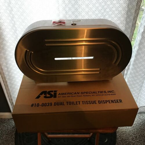 ASI 10-0039 Dual Tissue Dispenser, Stainless Steel, Jumbo Rolls. with key