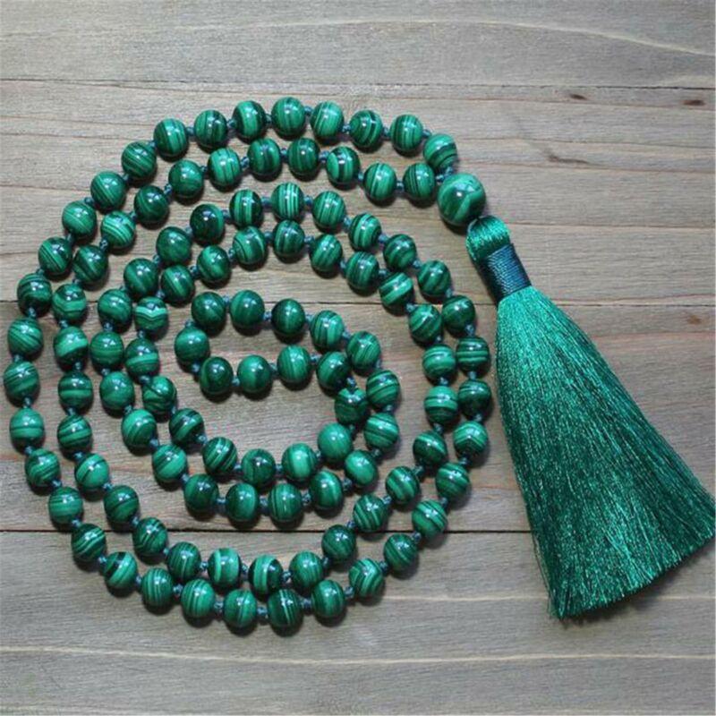 8mm Natural Malachite 108 Beads Gemstone Tassel Mala Necklace Yoga Buddhism