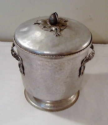 Vintage 1950s Forged Aluminum Ice Bucket With Tulip Design