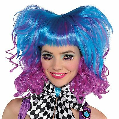 Damen Punk Rock Mad Hatter Perücke Blau Violett Electric Ombre Volume Locke Pony