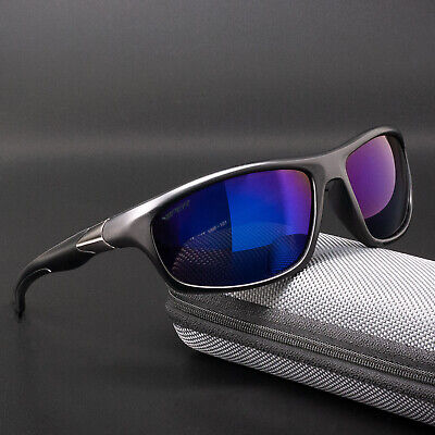 Herren Damen Sport Sonnenbrille Kunststoff Rahmen Lila Verspiegelt 100% UV 400