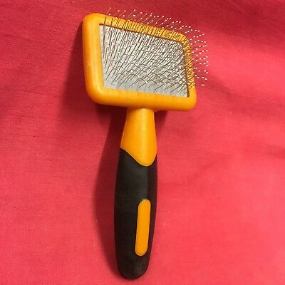 Cat Slicker Brush Yellow Plastic Handle Grooming 2 1/4