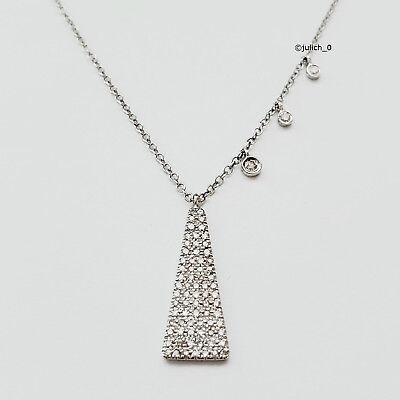 Diamond Triangle Necklace - Meira T 14K White Gold Diamond Triangle Pendant Necklace $1207
