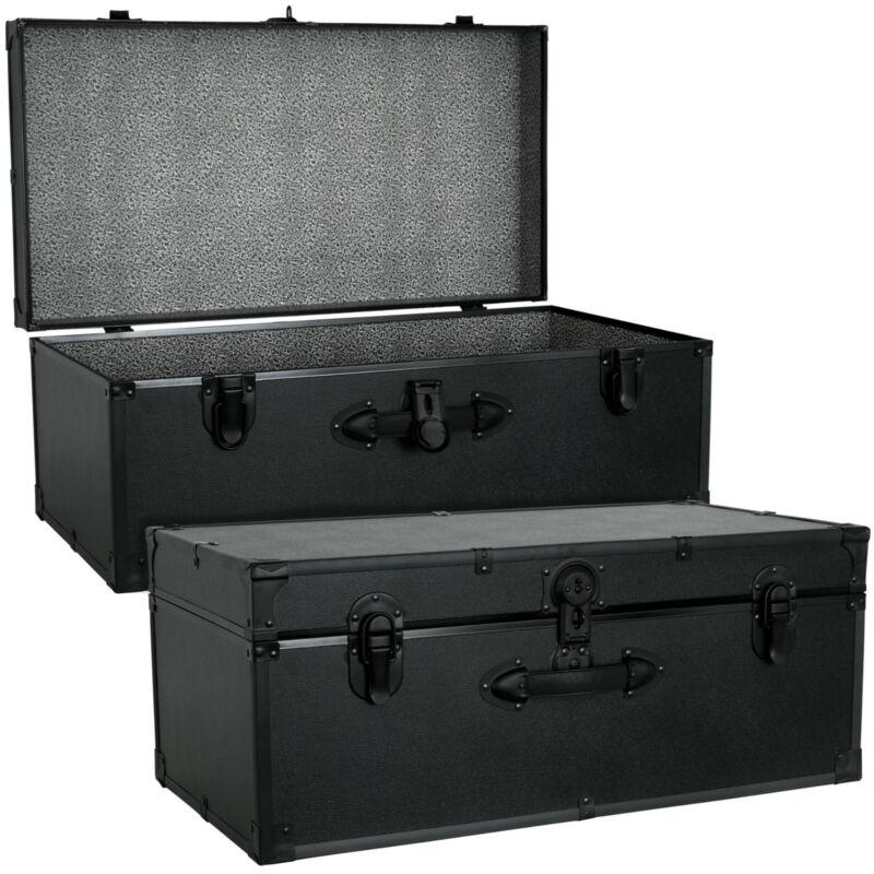 Black Footlocker Trunk Storage Chest Travel Luggage College Dorm Organizer Box