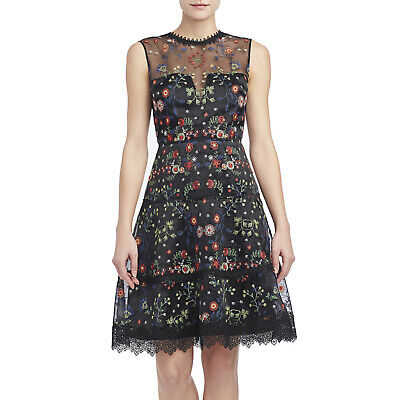 ELIE TAHARI Black Embroidered Organza Sleeveless MARITZA Dress Sz 6 • MSRP $598