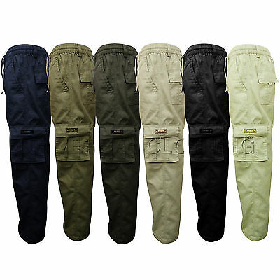 Mens Casual Smart Elasticated Trousers Cargo Comb Winter Summer Pant All Seasons