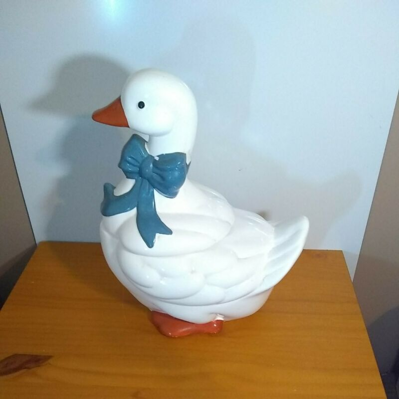 """1984 Vintage Ceramic White Goose Duck Blue Bow Cookie Jar 13.5"""" Tall"""