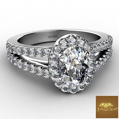 Halo Split Shank Oval Shape Diamond Engagement French Pave Ring GIA I SI1 1.47Ct 5