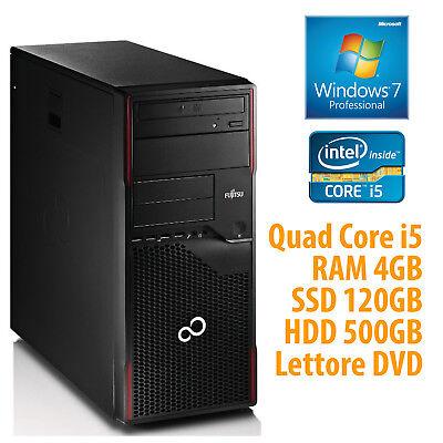 PC COMPUTER FISSO DESKTOP RICONDIZIONATO i5 RAM 4GB SSD 120GB HD 500GB WINDOWS 7
