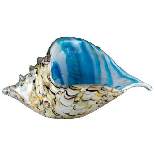 "Large Hand Blown Glass Amber White & Blue Seashell Figurine 8.75"" Long New"