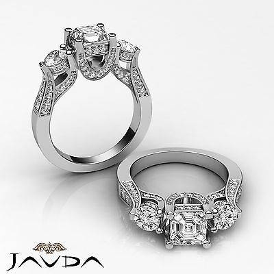 3 Stone Circa Halo Asscher Diamond Engagement GIA I Color SI1 Clarity Ring 2.2Ct