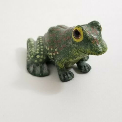 Vintage Green Yellow Brown FROG Ceramic Pottery Figurine
