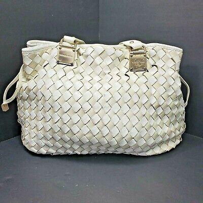 Michael Kors White Leather Weave Purse Satchel Bag Drawstring