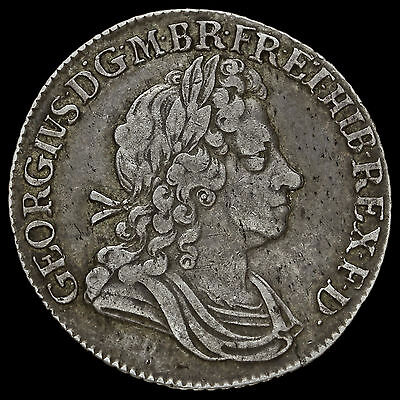 1723 George I Early Milled Silver SSC Shilling, VF
