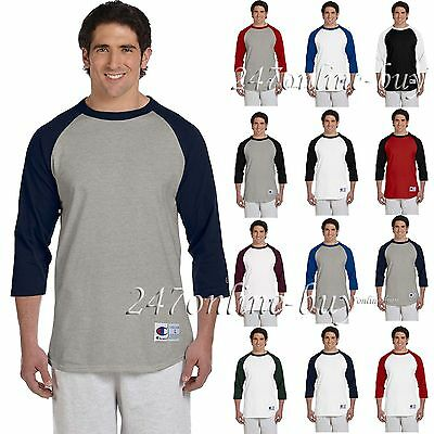 Champion Mens 3/4 Sleeve Baseball T-Shirt  Raglan Jersey Tee S-3XL T137-T1397